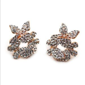Fashion rose gold butterfly crystal earrings